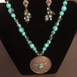Jewelry - Silver & turquoise beaded necklace & earrings set